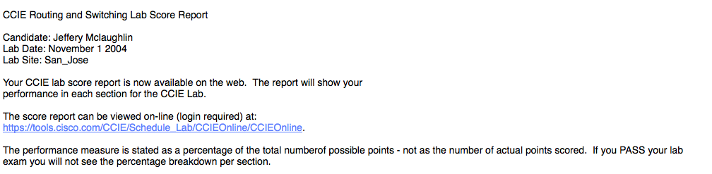 A snippet of the 2004 results email... Elusive!